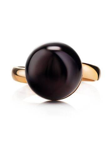 Яркое кольцо «Париж» из позолоченного серебра с круглой янтарной вставкой б/р, Размер кольца: б/р, фото , изображение 4