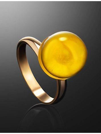Стильное кольцо с натуральным балтийским янтарём лимонного цвета «Париж» б/р, Размер кольца: б/р, фото , изображение 2