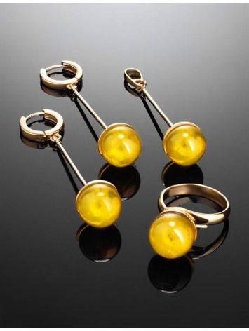 Стильное кольцо с натуральным балтийским янтарём лимонного цвета «Париж» б/р, Размер кольца: б/р, фото , изображение 7