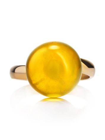Стильное кольцо с натуральным балтийским янтарём лимонного цвета «Париж» б/р, Размер кольца: б/р, фото , изображение 4
