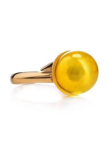 Стильное кольцо с натуральным балтийским янтарём лимонного цвета «Париж» б/р, Размер кольца: б/р, фото , изображение 5
