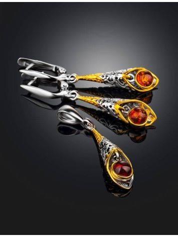 Изысканные серьги из серебра с золочением и коньячного янтаря «Роксана», фото , изображение 5