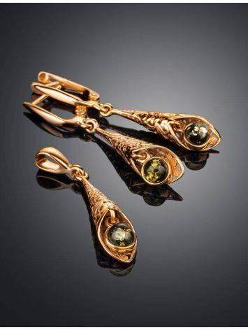 Изящные серьги «Роксана» с натуральным балтийским янтарём зелёного цвета, фото , изображение 5
