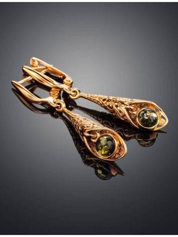 Изящные серьги «Роксана» с натуральным балтийским янтарём зелёного цвета, фото , изображение 2