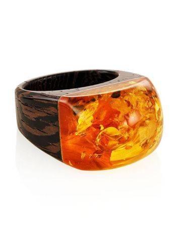 Оригинальное кольцо из дерева с натуральным переливающимся янтарём «Индонезия» 19.5, Размер кольца: 19.5, фото , изображение 3