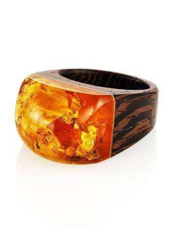 Оригинальное кольцо из дерева с натуральным переливающимся янтарём «Индонезия» 19.5, Размер кольца: 19.5, фото , изображение 4