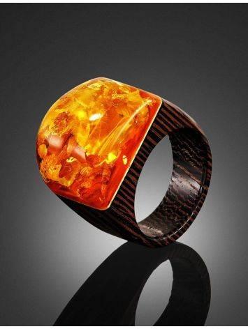 Оригинальное кольцо из дерева с натуральным переливающимся янтарём «Индонезия» 19.5, Размер кольца: 19.5, фото , изображение 2