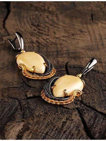 Затейливые серебряные серьги с бивнем мамонта «Эра», фото , изображение 2