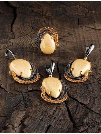 Затейливые серебряные серьги с бивнем мамонта «Эра», фото , изображение 4