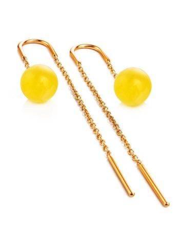Оригинальные продевные серьги из позолоченного серебра и медового янтаря «Юпитер», фото , изображение 4