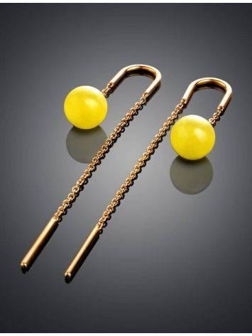Оригинальные продевные серьги из позолоченного серебра и медового янтаря «Юпитер», фото , изображение 2