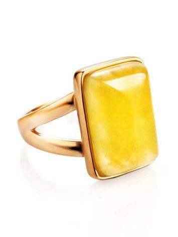 Элегантное кольцо «Спарта» из позолоченного серебра с медовым янтарём 16, Размер кольца: 16, фото , изображение 3