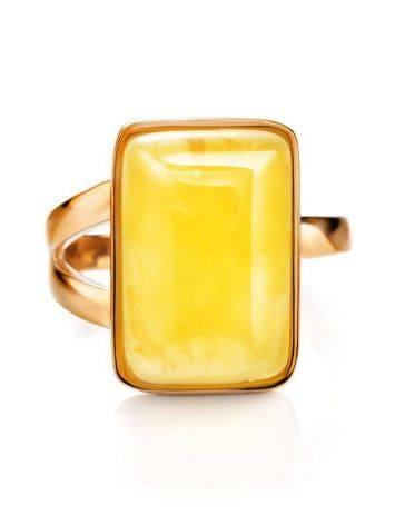 Элегантное кольцо «Спарта» из позолоченного серебра с медовым янтарём 16, Размер кольца: 16, фото , изображение 4