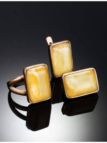 Элегантное кольцо «Спарта» из позолоченного серебра с медовым янтарём 16, Размер кольца: 16, фото , изображение 5