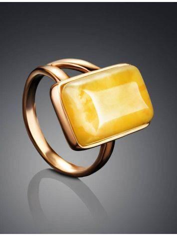 Элегантное кольцо «Спарта» из позолоченного серебра с медовым янтарём 16, Размер кольца: 16, фото , изображение 2