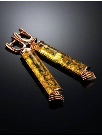 Необычные серьги из натурального янтаря и позолоченного серебра «Кения», фото , изображение 2