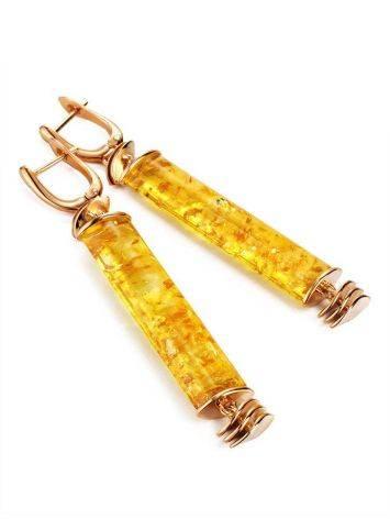 Необычные серьги из натурального янтаря и позолоченного серебра «Кения», фото , изображение 3