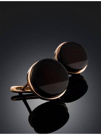 Элегантные серьги «Фурор» из золочённого серебра с вишнёвым янтарём, фото , изображение 2