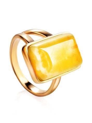Элегантное кольцо «Спарта» из позолоченного серебра с медовым янтарём 16, Размер кольца: 16, фото