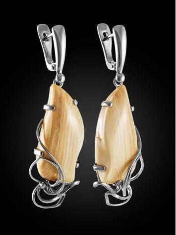 Элегантные серьги из серебра и бивня мамонта «Эра», фото , изображение 3