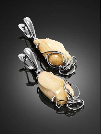 Элегантные серьги из серебра и бивня мамонта «Эра», фото , изображение 2