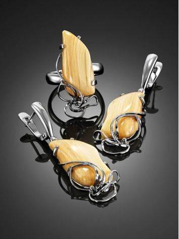 Элегантные серьги из серебра и бивня мамонта «Эра», фото , изображение 4