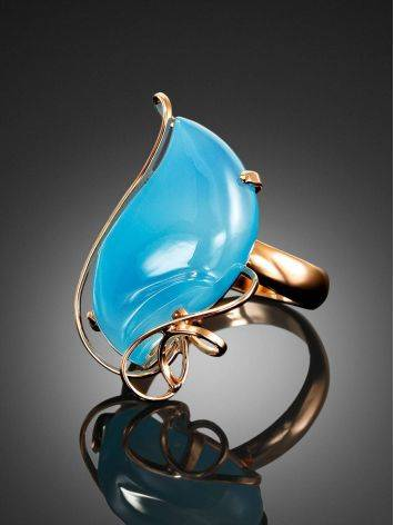 Нежное кольцо из золоченного серебра с голубым халцедоном «Серенада» б/р, Размер кольца: б/р, фото , изображение 2