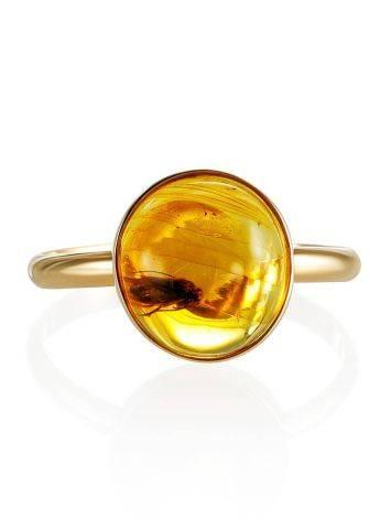 Уникальное кольцо «Клио» из золота и янтаря с инклюзом мушки 16.5, Размер кольца: 16.5, фото , изображение 4