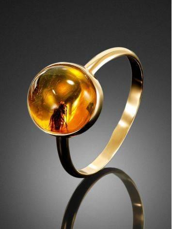 Уникальное кольцо «Клио» из золота и янтаря с инклюзом мушки 16.5, Размер кольца: 16.5, фото , изображение 2