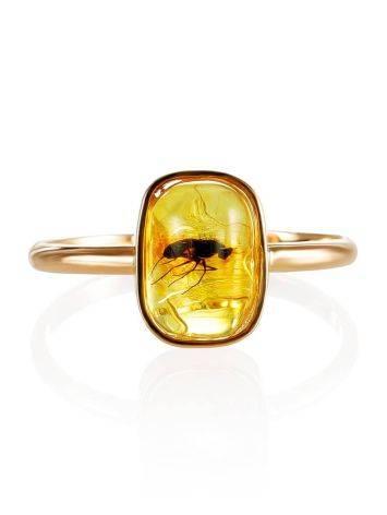 Тонкое нежное кольцо из золота и янтаря с инклюзами насекомых«Клио» 17, Размер кольца: 17, фото , изображение 3