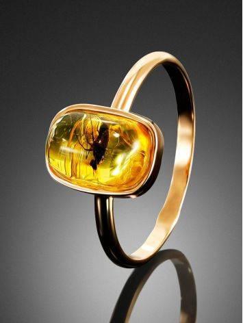 Тонкое нежное кольцо из золота и янтаря с инклюзами насекомых«Клио» 17, Размер кольца: 17, фото , изображение 2