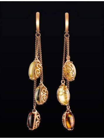 Изящные позолоченные серьги «Касабланка» с натуральным янтарём, фото , изображение 2