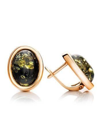 Небольшие серьги из позолоченного серебра и натурального зелёного янтаря «Годжи», фото , изображение 3