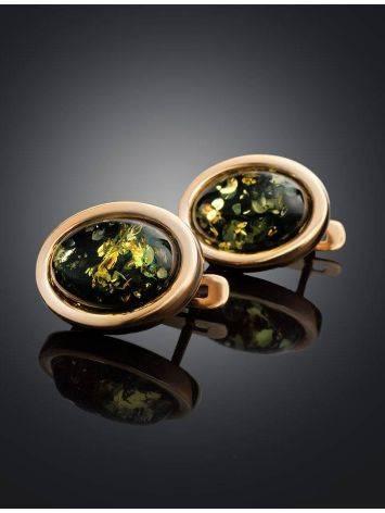 Небольшие серьги из позолоченного серебра и натурального зелёного янтаря «Годжи», фото , изображение 2