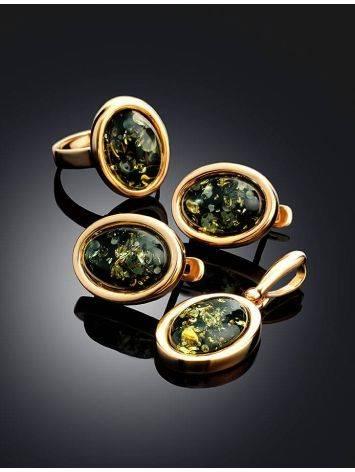Небольшие серьги из позолоченного серебра и натурального зелёного янтаря «Годжи», фото , изображение 4