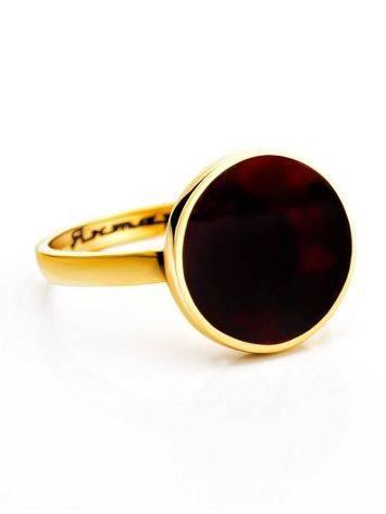 Яркое и стильное кольцо «Монако» Янтарь® с янтарём вишнёвого цвета, Размер кольца: 16, фото , изображение 3