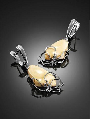 Элегантные серьги из серебра с костью мамонта «Эра», фото , изображение 3