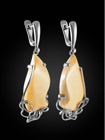 Изящные серьги из серебра и бивня мамонта «Эра», фото , изображение 3