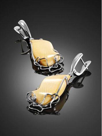 Изящные серьги из серебра и бивня мамонта «Эра», фото , изображение 2