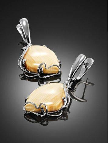 Элегантные серьги из серебра с позолотой и бивня мамонта «Эра», фото , изображение 2