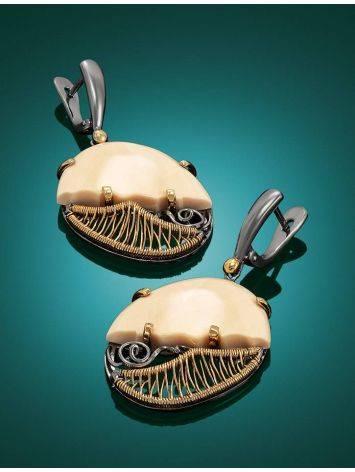 Элегантные серьги из серебра с золочением и кости мамонта «Эра», фото , изображение 2
