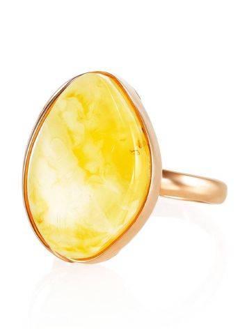 Небольшое кольцо «Лагуна» с цельным молочно-медовым янтарём 17, Размер кольца: 17, фото , изображение 2