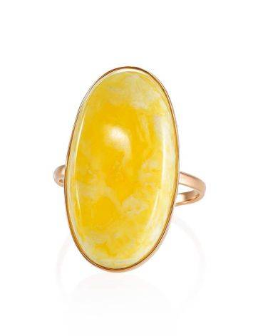 Кольцо из золота и натурального цельного янтаря с пейзажной текстурой 17.5, Размер кольца: 17.5, фото , изображение 3