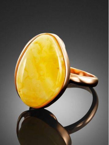 Небольшое кольцо «Лагуна» с цельным молочно-медовым янтарём 17, Размер кольца: 17, фото , изображение 3