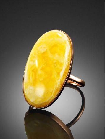Кольцо из золота и натурального цельного янтаря с пейзажной текстурой 17.5, Размер кольца: 17.5, фото , изображение 2