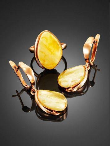 Небольшое кольцо «Лагуна» с цельным молочно-медовым янтарём 17, Размер кольца: 17, фото , изображение 4