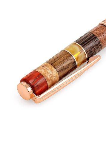 Ручка авторской работы из разных пород дерева и натурального янтаря «Индонезия», фото , изображение 5