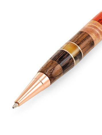 Ручка авторской работы из разных пород дерева и натурального янтаря «Индонезия», фото , изображение 4