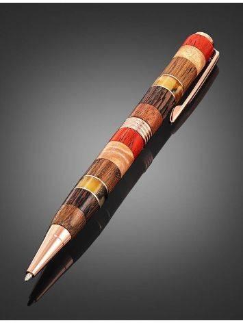 Ручка авторской работы из разных пород дерева и натурального янтаря «Индонезия», фото , изображение 2