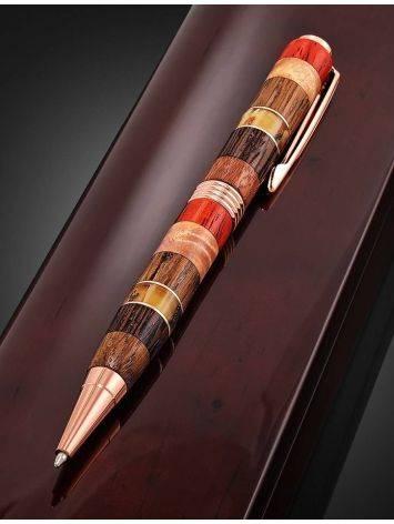 Ручка авторской работы из разных пород дерева и натурального янтаря «Индонезия», фото , изображение 3